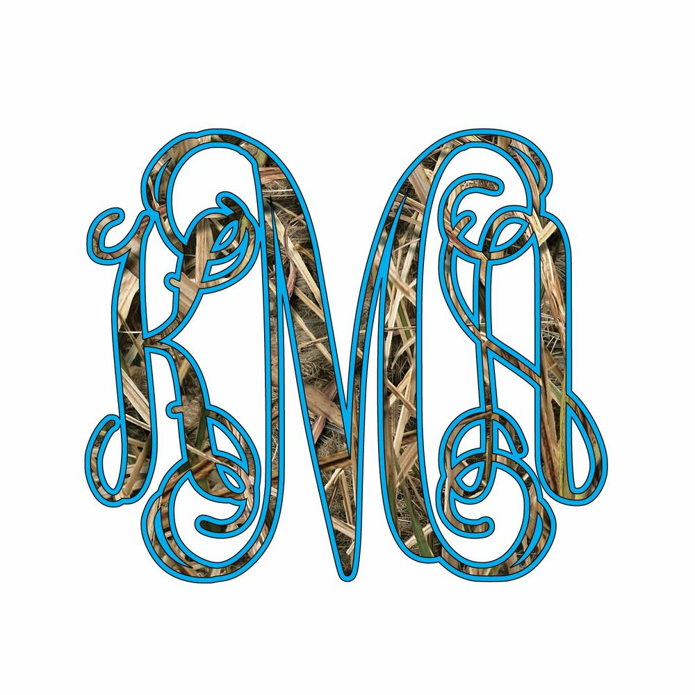 Camo And Your Color 3 Initials Vine Monogram Camouflage