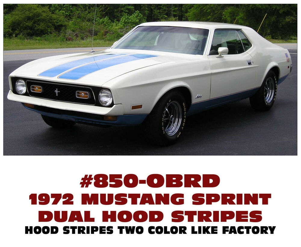 Details about 850 1972 ford mustang sprint dual hood stripes two color like factory