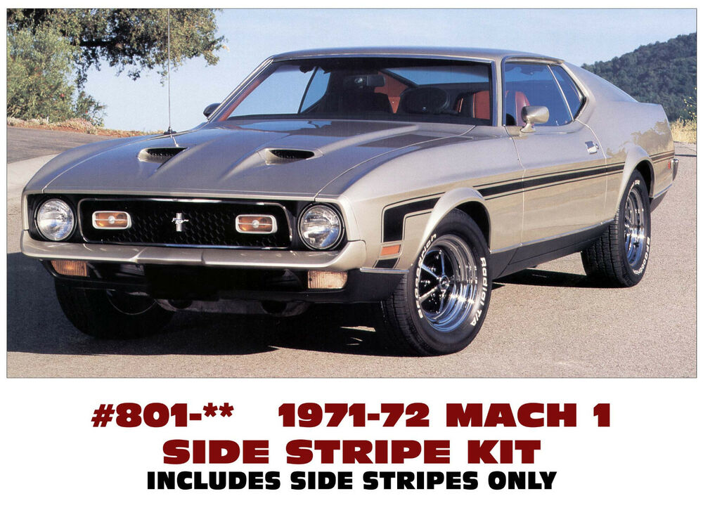 Mustang Decals And Stripes >> 801 1971-73 FORD MUSTANG - MACH 1 or BOSS - HOCKEY SIDE ...