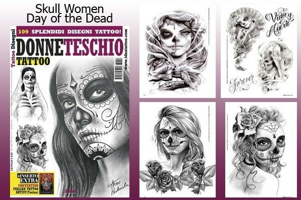 Day of the dead skull women tattoo flash design book 66 for Day of the dead craft supplies