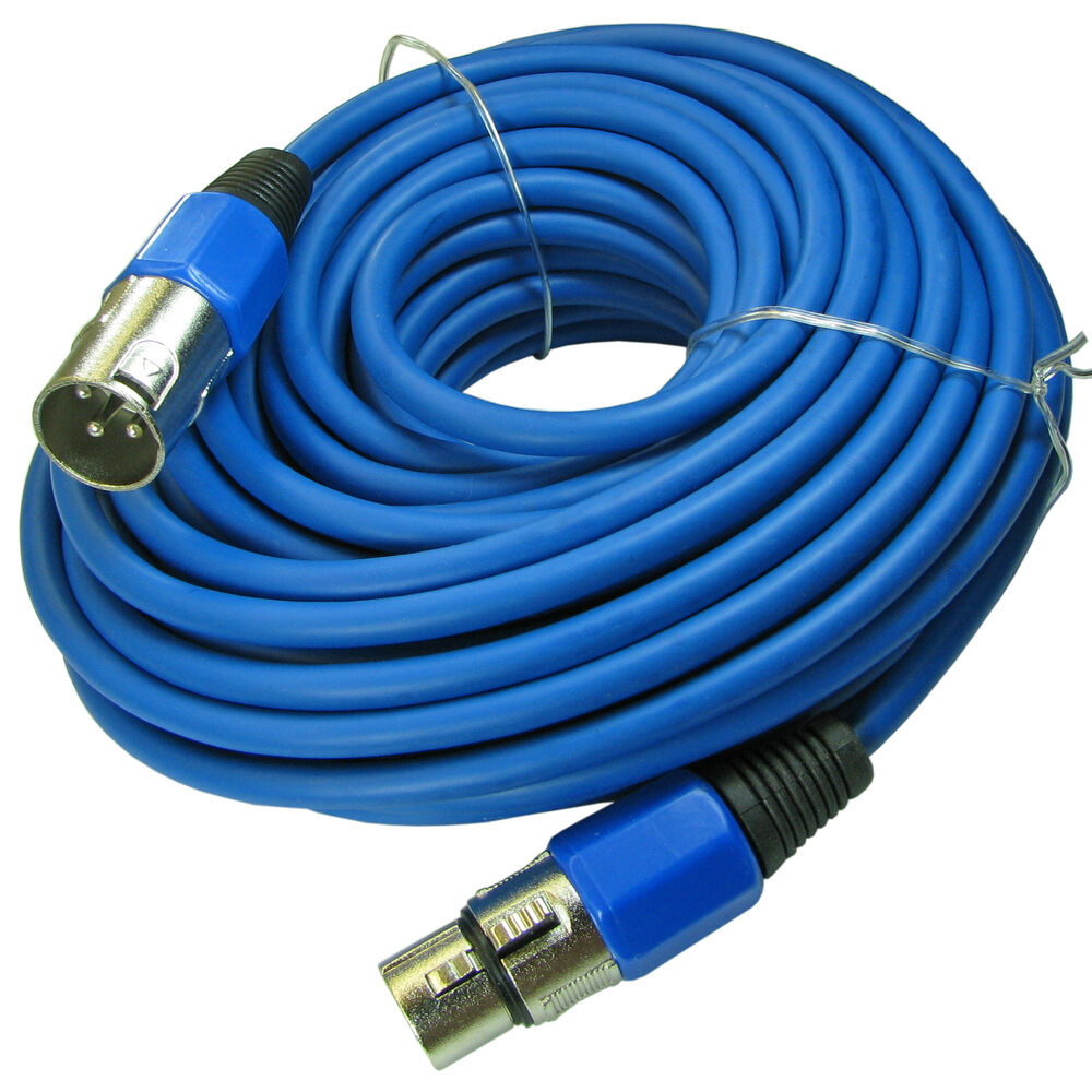 50 ft foot color blue xlr 3 pin mic microphone audio cable patch cord 15m meter ebay. Black Bedroom Furniture Sets. Home Design Ideas