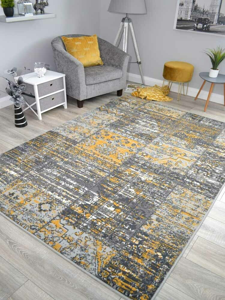 New Silver Grey Black Modern Soft Thick Carved Rugs Small