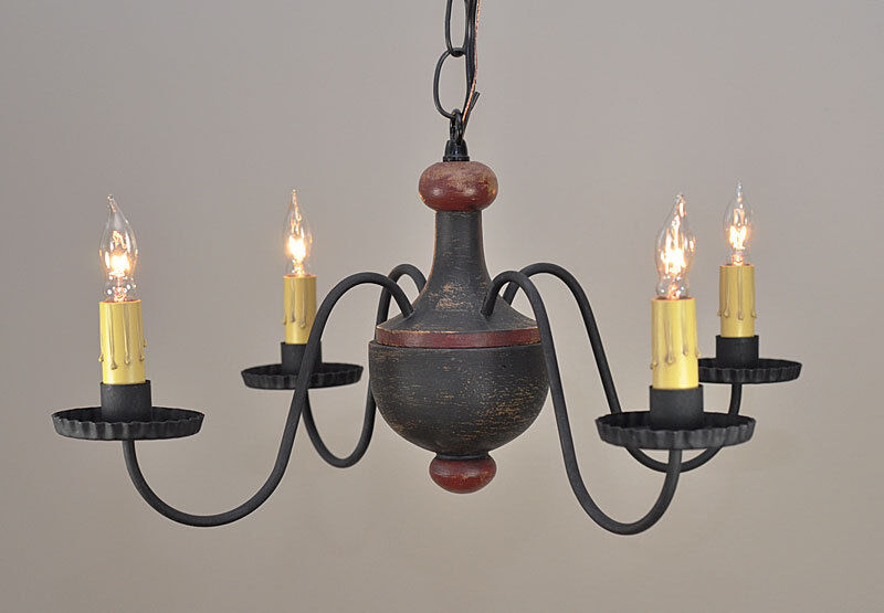 4 Arm Woodspun Primitive Chandelier In Black Wooden