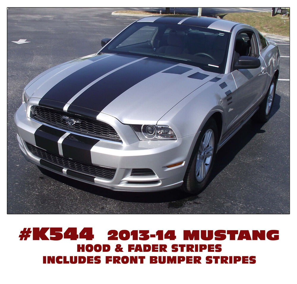 Mustang Decals And Stripes >> K544 2013-14 MUSTANG TAPERED DUAL HOOD STRIPES with FADER DECALS | eBay