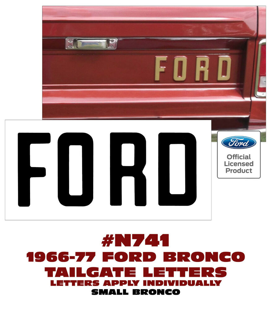n741 1966 77 ford bronco ford tailgate letters decal With tailgate letters