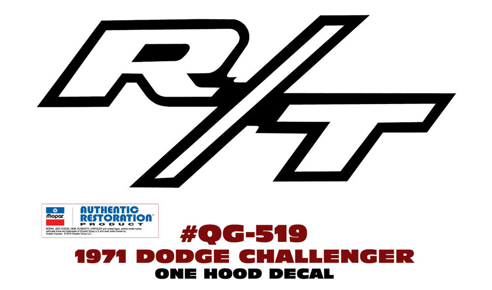QG-519 1971 DODGE CHALLENGER- R/T HOOD DECAL - STICKER KIT | eBay