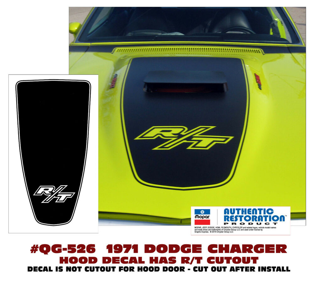 Qg 526 1971 Dodge Charger R T Hood Blackout With R T