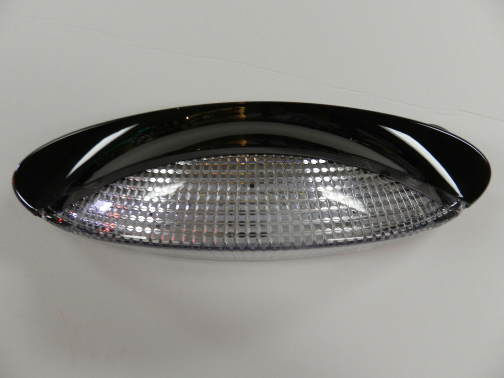 12 volt 18 LED Porch Light oval clear camper RV trailer BLACK exterior Kaper ...