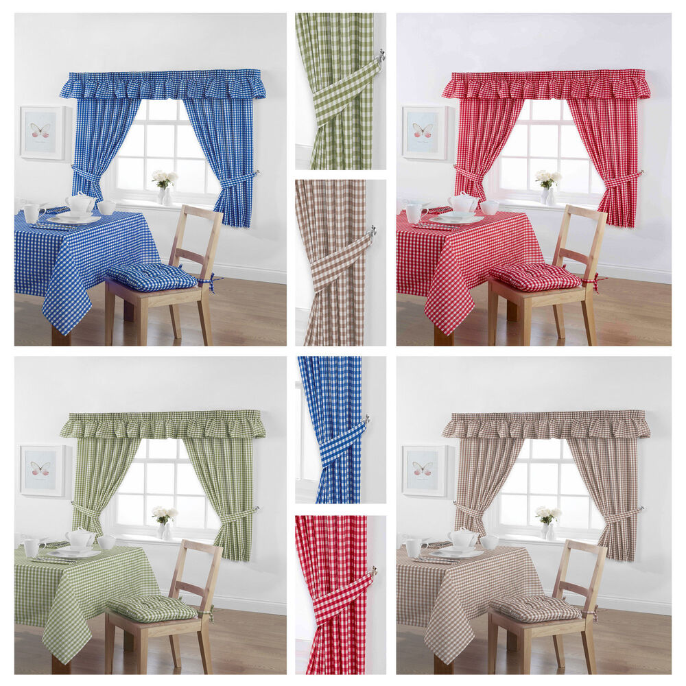 Gingham Check Kitchen Tablecloths Curtains Napkins