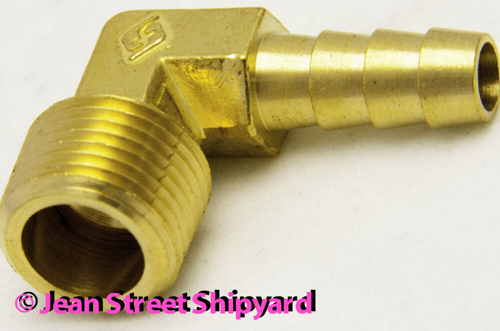 Degree marine brass fuel elbow fitting barb