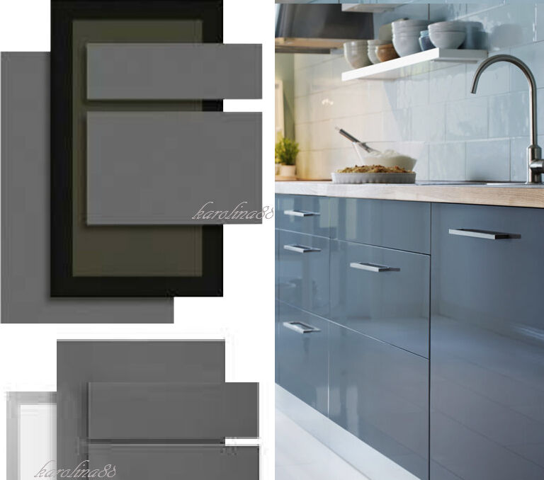 Ikea abstrakt gray kitchen cabinet door front high gloss for Idea kitchen cabinet doors