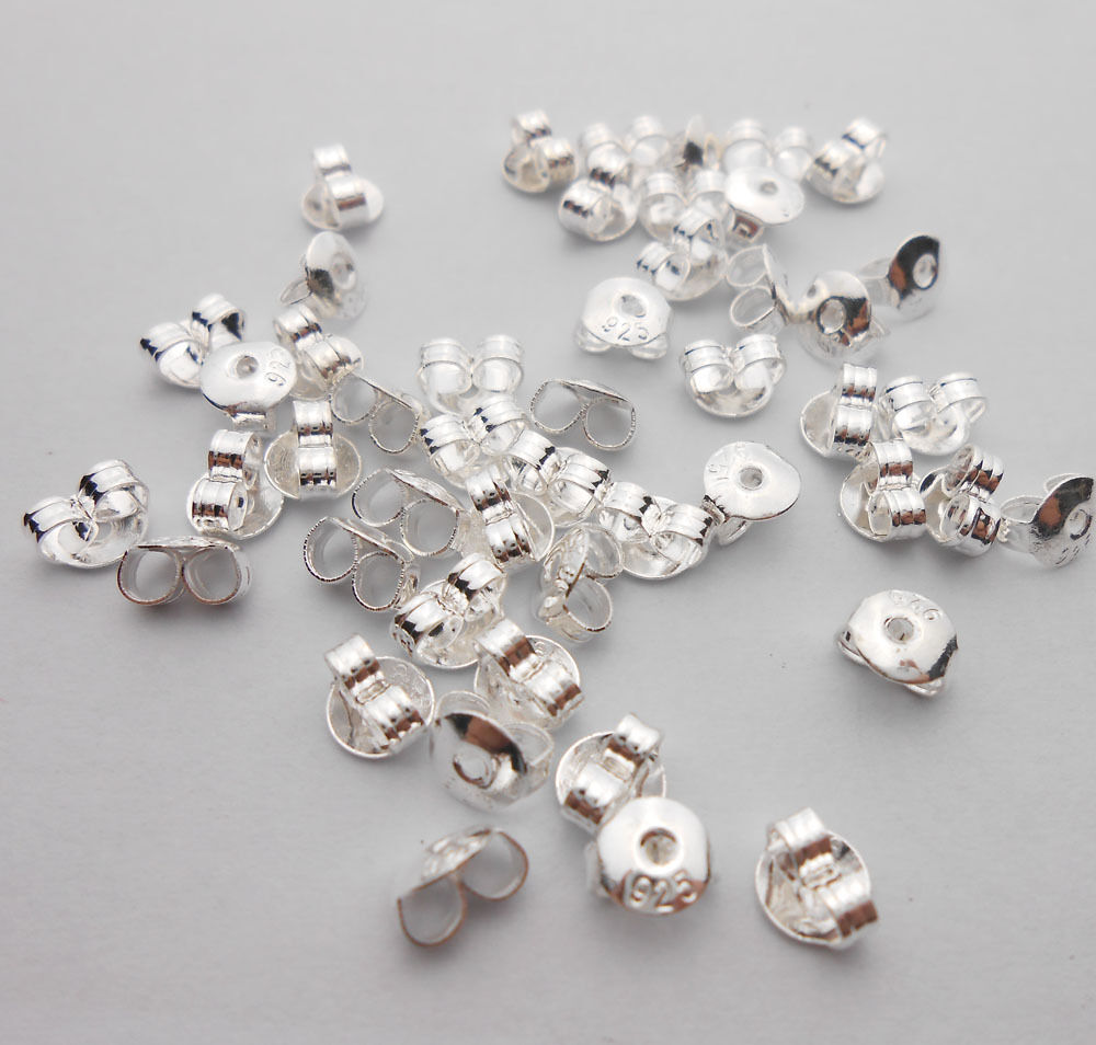 Wholesale diy 925 sterling silver back stoppers earrings for Earring supplies for jewelry making