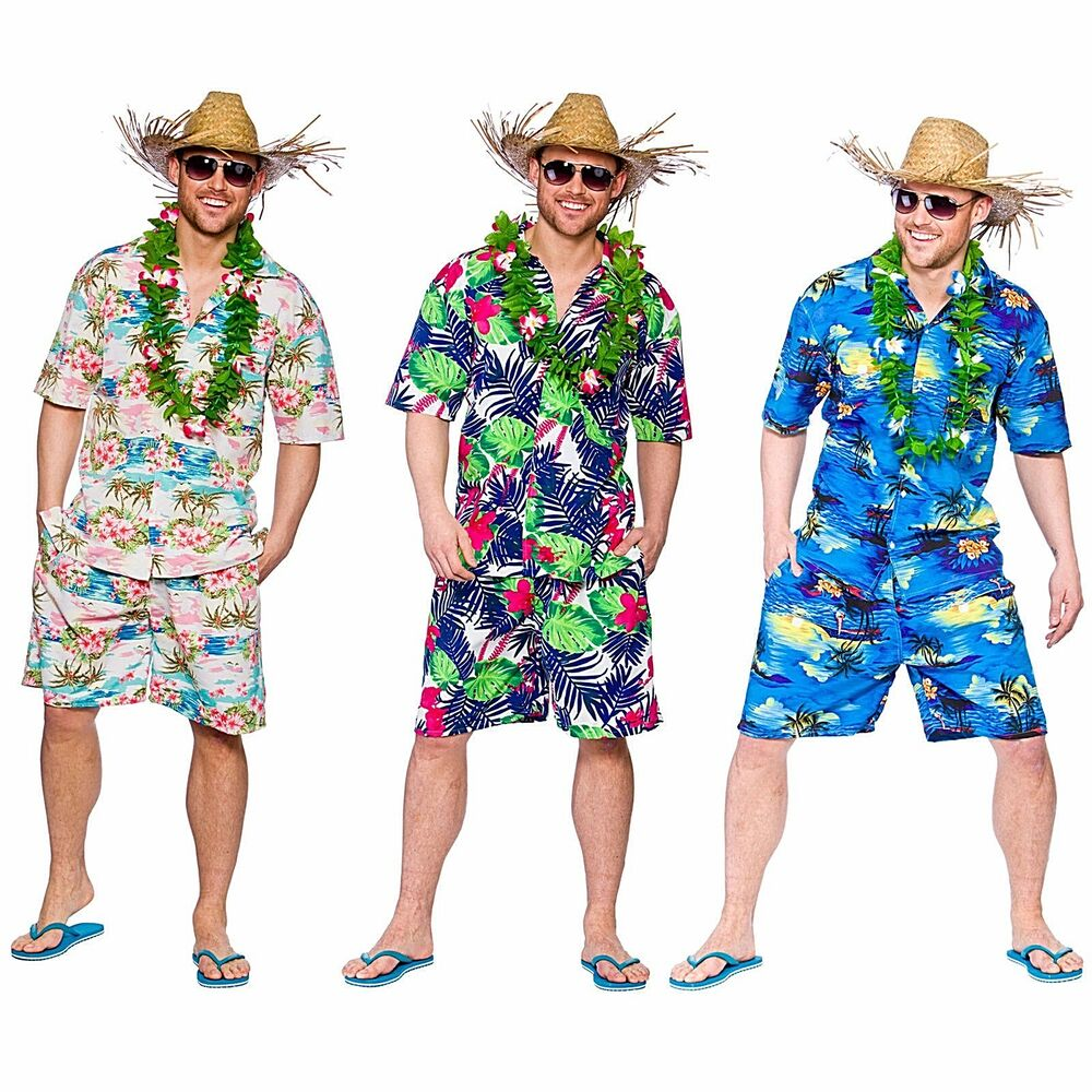 Adult HAWAIIAN Summer Party Guy Palm Tree Fancy Dress Costume Mens Straw Hat | eBay