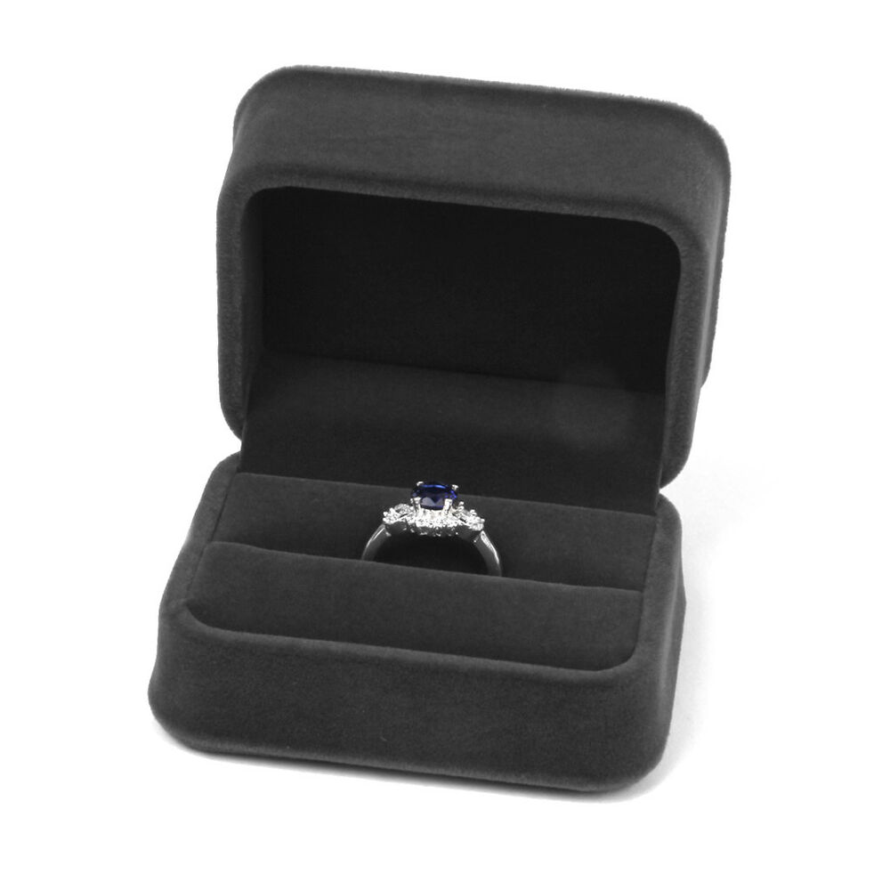 Wedding Ring Gift Box : Velvet DOUBLE RING Wedding Engagement Ceremony Gift Box Jewelry Case ...