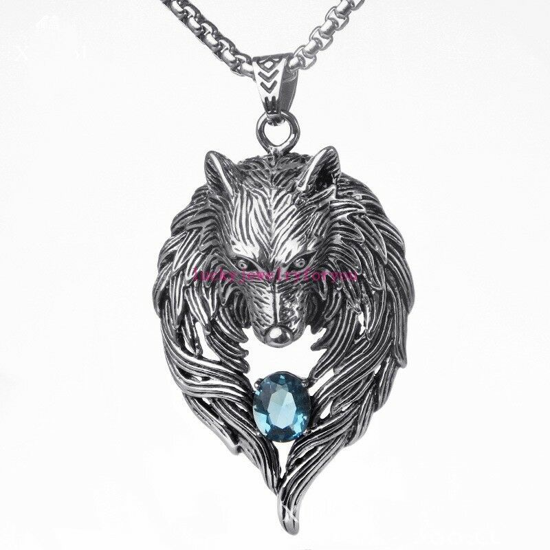 cool s silver stainless steel blue fox pendant