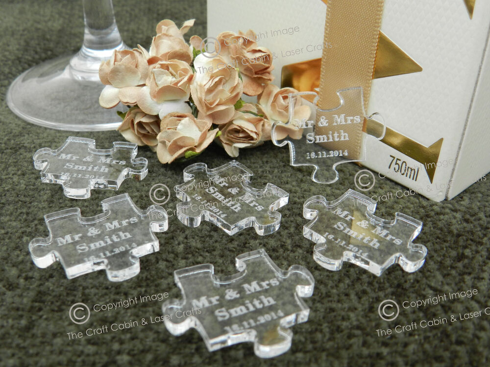 personalised clear puzzle piece 39 s favours table decorations favours weddings ebay. Black Bedroom Furniture Sets. Home Design Ideas