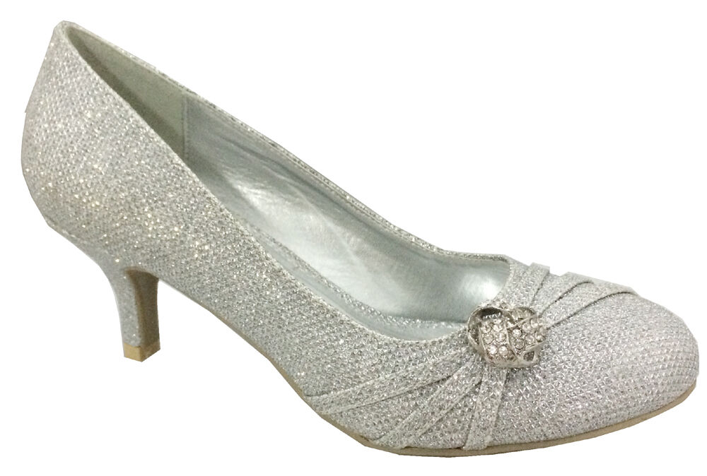 silver wedding shoes low heel new womens silver wedding bridal prom low heel 7466