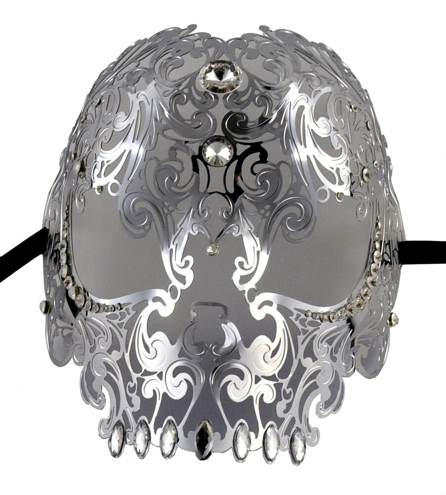 Demon Skull Laser Cut Silver Metal Masquerade Mask With