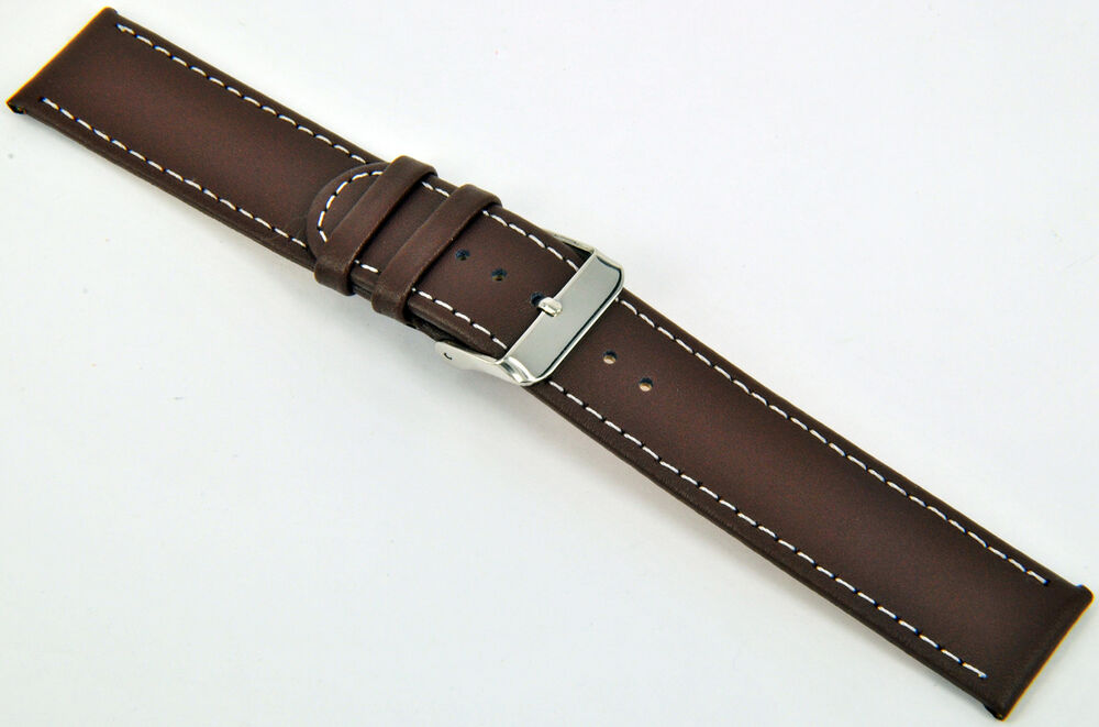 20mm leder uhrenarmband braun glatt mit wei e naht armband uhr band watch strap ebay. Black Bedroom Furniture Sets. Home Design Ideas