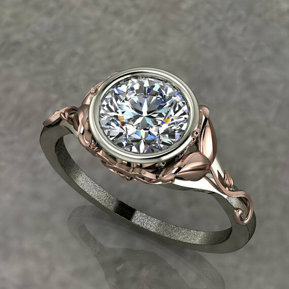 Certified 2 12ct Diamond Two Tone Engagement Ring with 10k Rose Gold Floral
