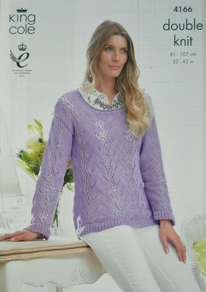 KNITTING PATTERN Ladies Long Sleeve Scoop Neck Lace Jumper Bamboo Cotton DK 4...