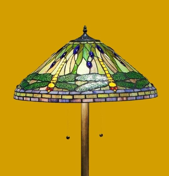 green dragonfly stained glass floor lamp two lights tiffany style 20. Black Bedroom Furniture Sets. Home Design Ideas
