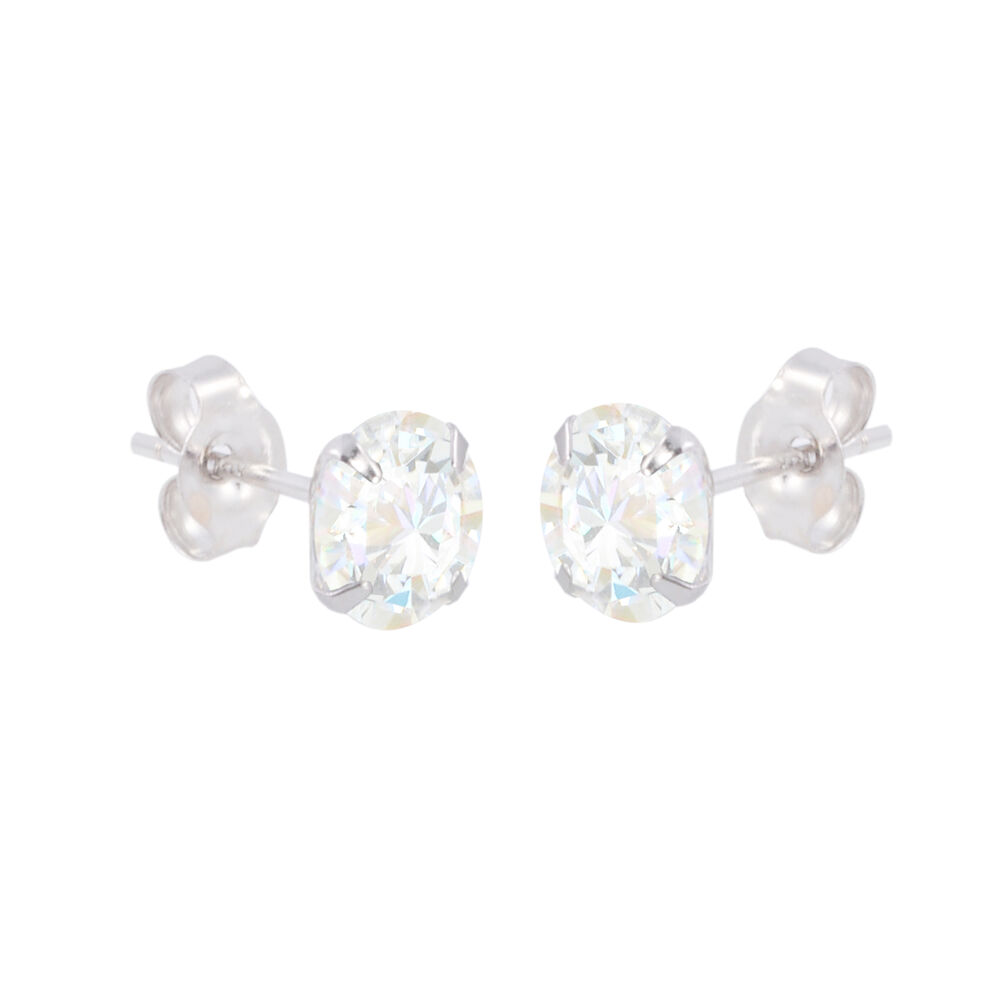 10k white gold earrings clear cz prong set cubic