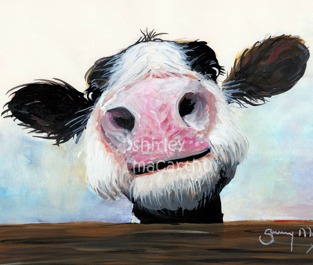Nosey cow prints of original watercolour painting hey how for Cow painting print