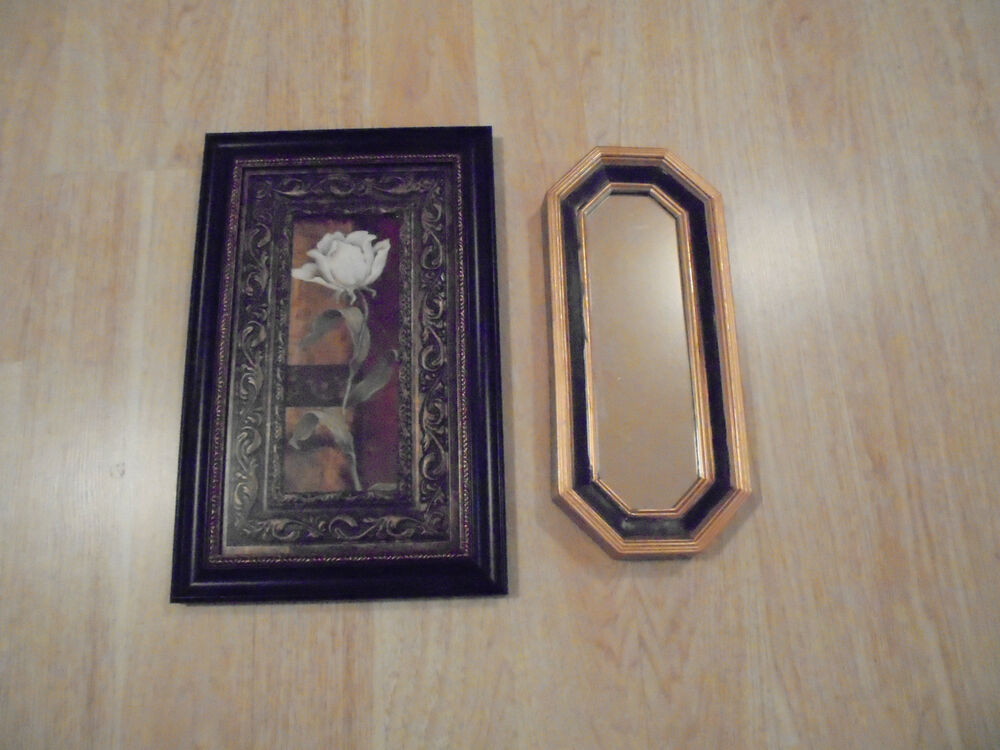 Beautiful 16x10 5 Black Framed White Rose Picture Amp Gold
