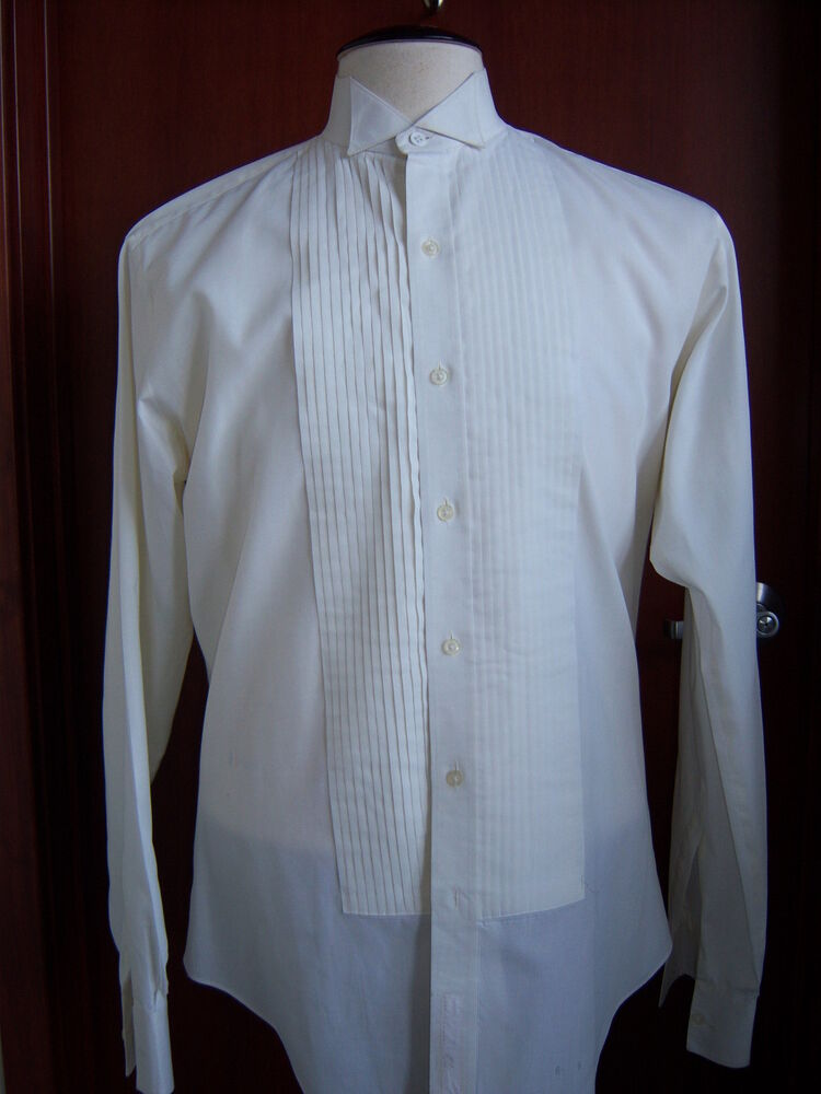 Ivory off white tuxedo wing collar formal shirt most for Mens formal white shirts