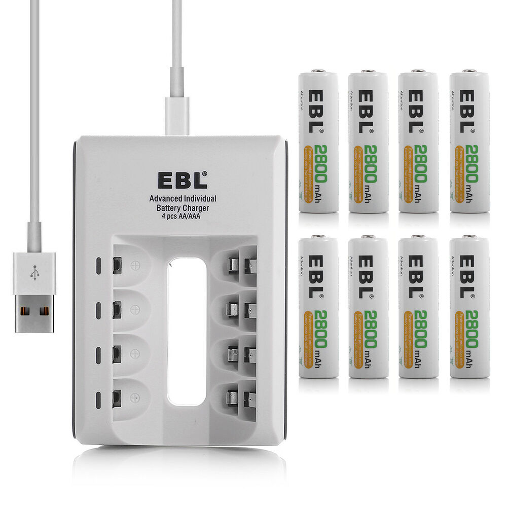 ebl 8 pack 2800mah aa ni mh rechargeable batteries usb. Black Bedroom Furniture Sets. Home Design Ideas