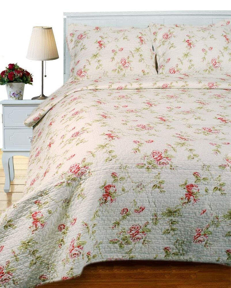 cottage rose king quilt set french pink red shabby roses chic comforter ebay. Black Bedroom Furniture Sets. Home Design Ideas