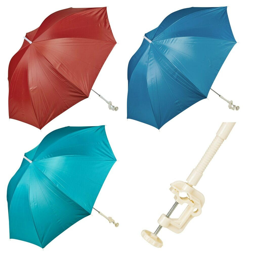 screw clamp garden beach deck chair parasol sunshade sun uv protection umbrella ebay. Black Bedroom Furniture Sets. Home Design Ideas