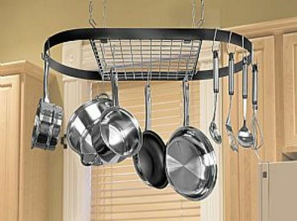 Kitchen storage hanging pot holder pan hanger utility for Pot racks for kitchen
