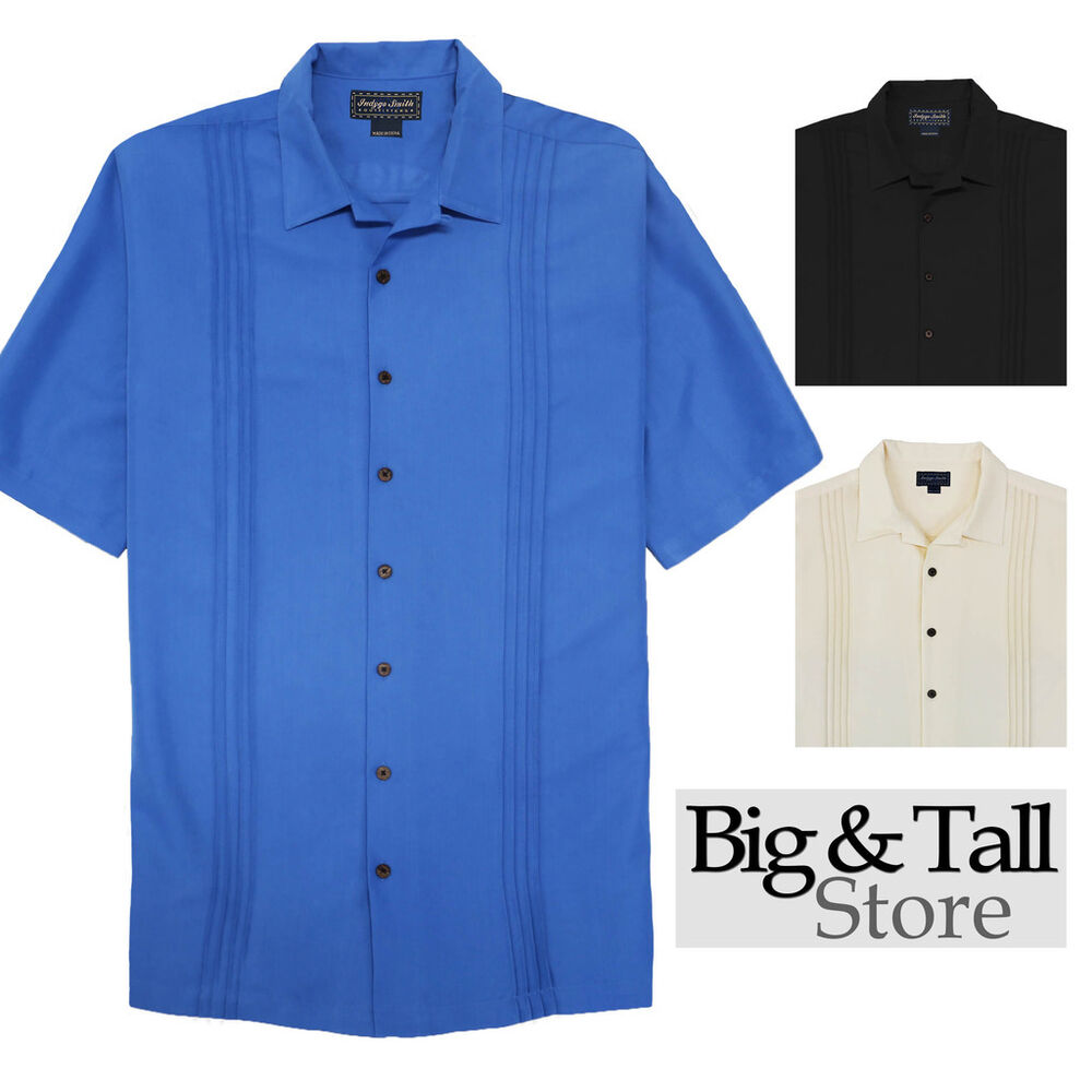 Big tall men 39 s foxfire casual cabana shirt front pleats for Big and tall casual shirts