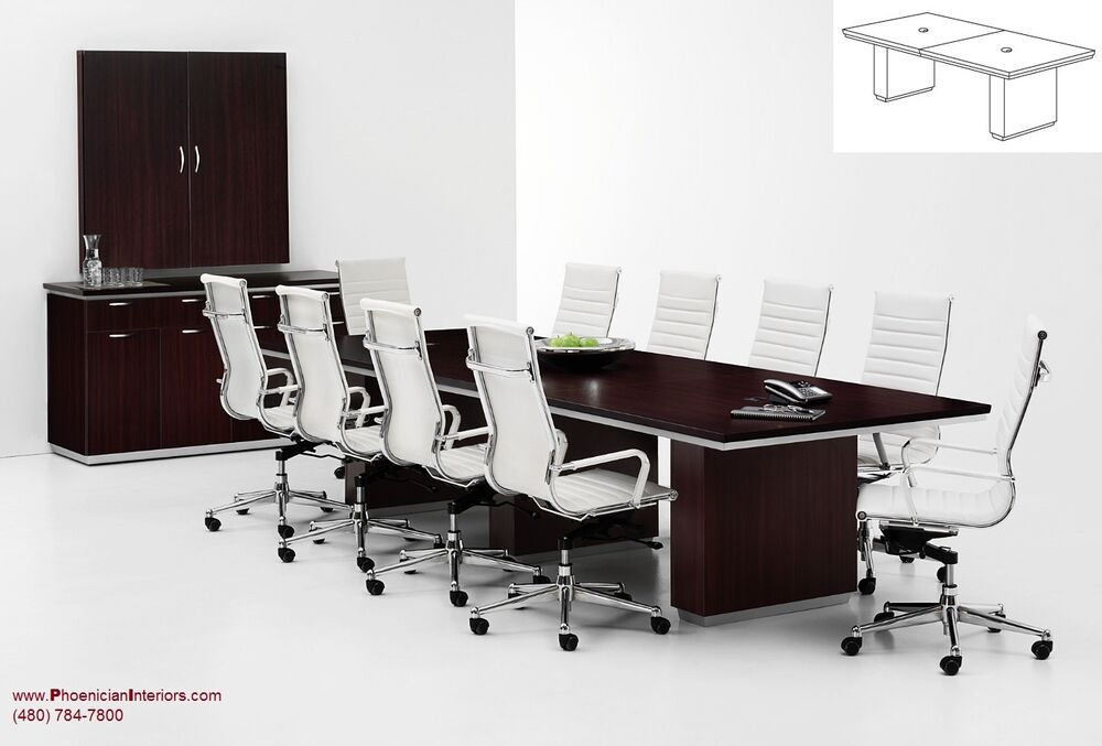 10 foot conference room table with grommets and 8 chairs