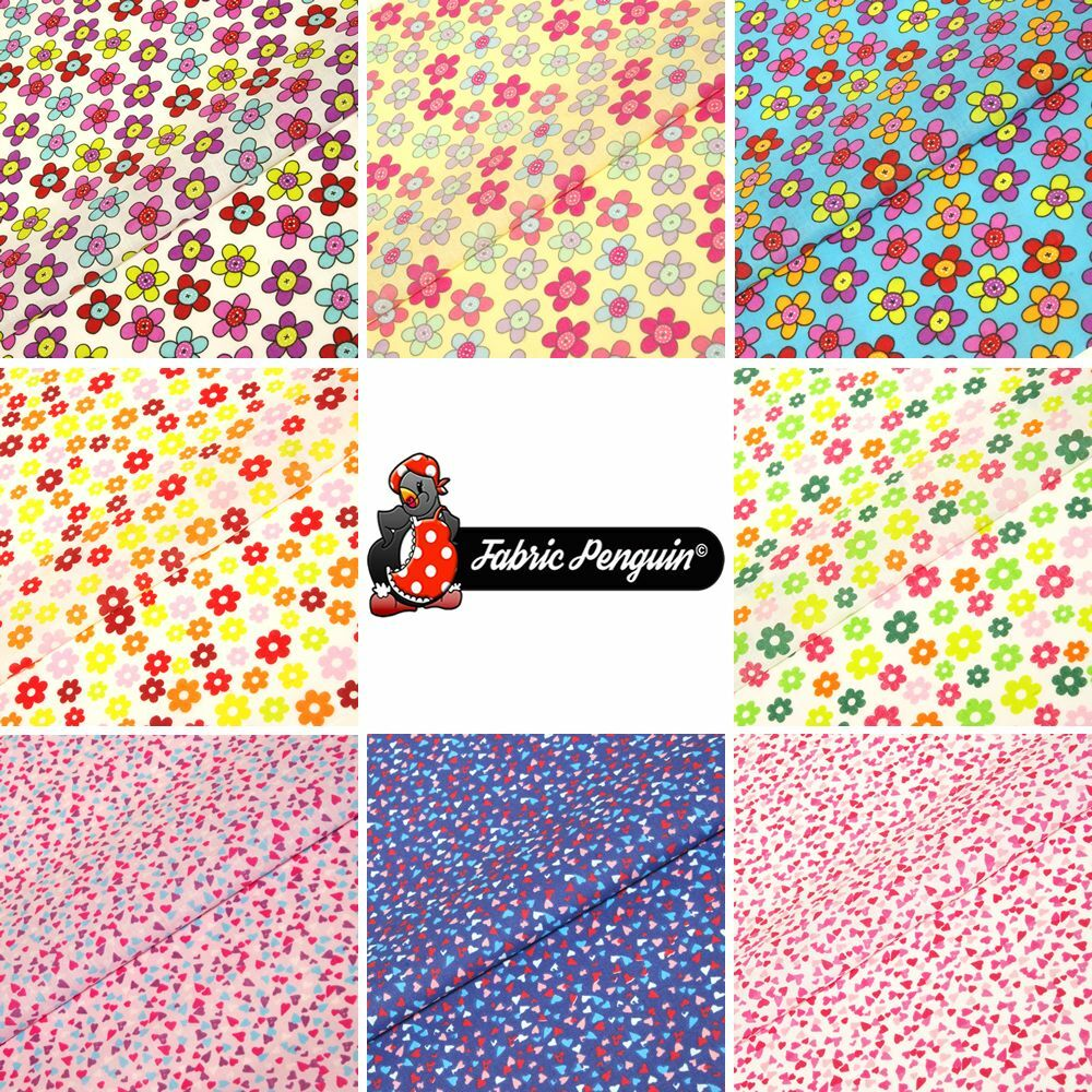 Floral hearts fabric children 39 s polycotton kids material for Childrens dress fabric