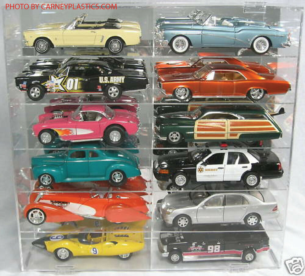 model car diecast display case 1 18 scale 12 car compartment ebay. Black Bedroom Furniture Sets. Home Design Ideas