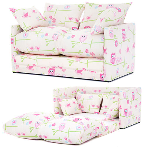 Owls Print Children 39 S Bedroom Sofa Bed Fold Out Futon Guest Kids Furniture Twit Ebay