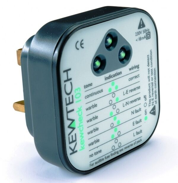 Ground Fault Indicator Testers : Alto kewtech mains wiring tester socket test audible sound