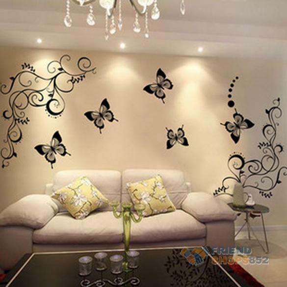 Butterfly Fly Flowers Vine Wall Stickers Decal Removable Art Vinyl Decor Home Ebay