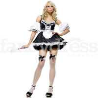 Womens Ladies French Maid Fancy Dress Costume Sexy Cleaner Occupation Outfit NEW