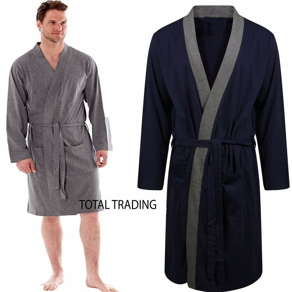 Mens Dressing Gown Gowns Robe Cotton Rich Jersey Summer