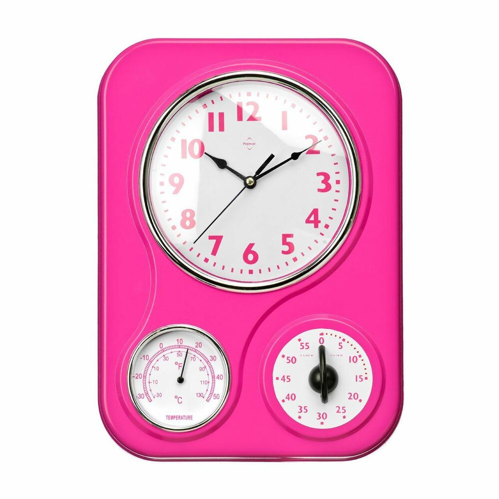 Pink Plastic Kitchen Wall Clock Rectangular With Timer