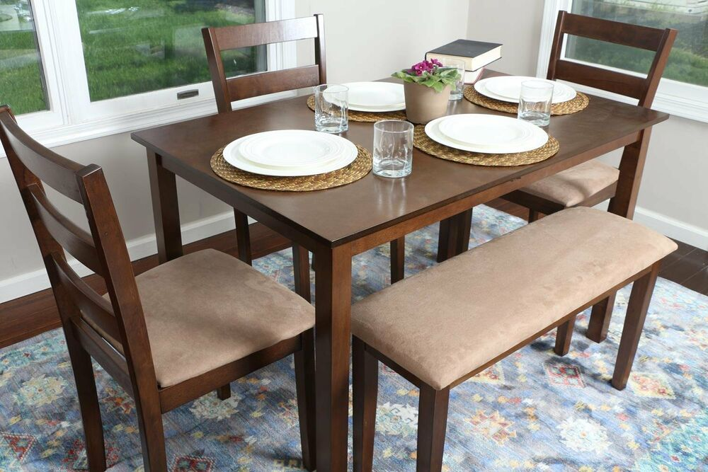 5pc walnut dining table set dinette chairs bench kitchen