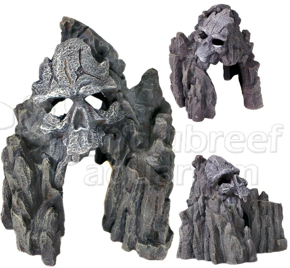 Skull mountain swim thru fish cave small erie resin for Fish tank skull decoration