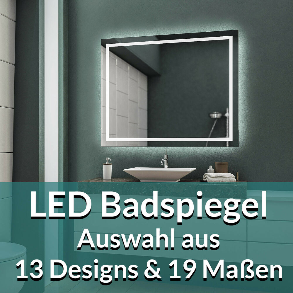 led badspiegel badezimmerspiegel wandspiegel bad spiegel nach ma warmwei ebay. Black Bedroom Furniture Sets. Home Design Ideas