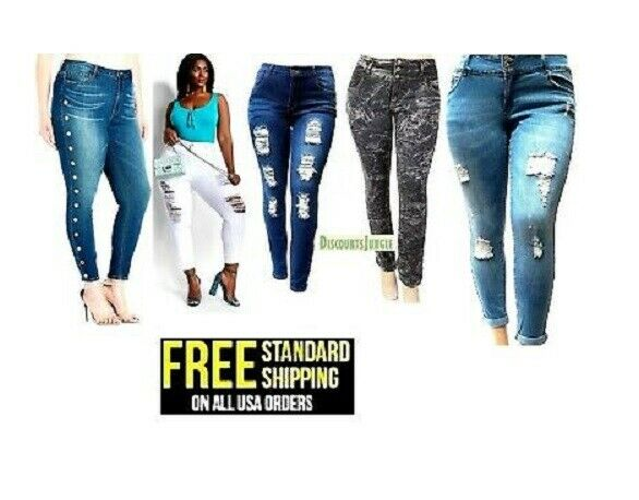 NEW CT WOMENS PLUS SIZE Stretch Distressed Ripped BLUE ...