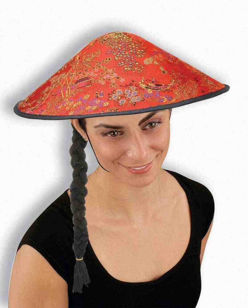 Coolie Hat: Asian Coolie Hat With Hair Braid Costume Chinese Beanie
