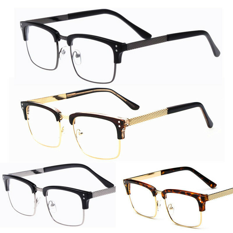 Rimless Geek Glasses : Fashion New Vintage Retro Metal Half Frame Clear Lens ...